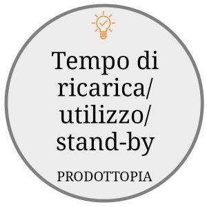 Tempo di ricarica/utilizzo/stand-by